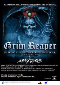 Arkanos-Grim Reaper, 18 septiembre, 2015. Organizado por Global Rock City, Cinemateca Boliviana